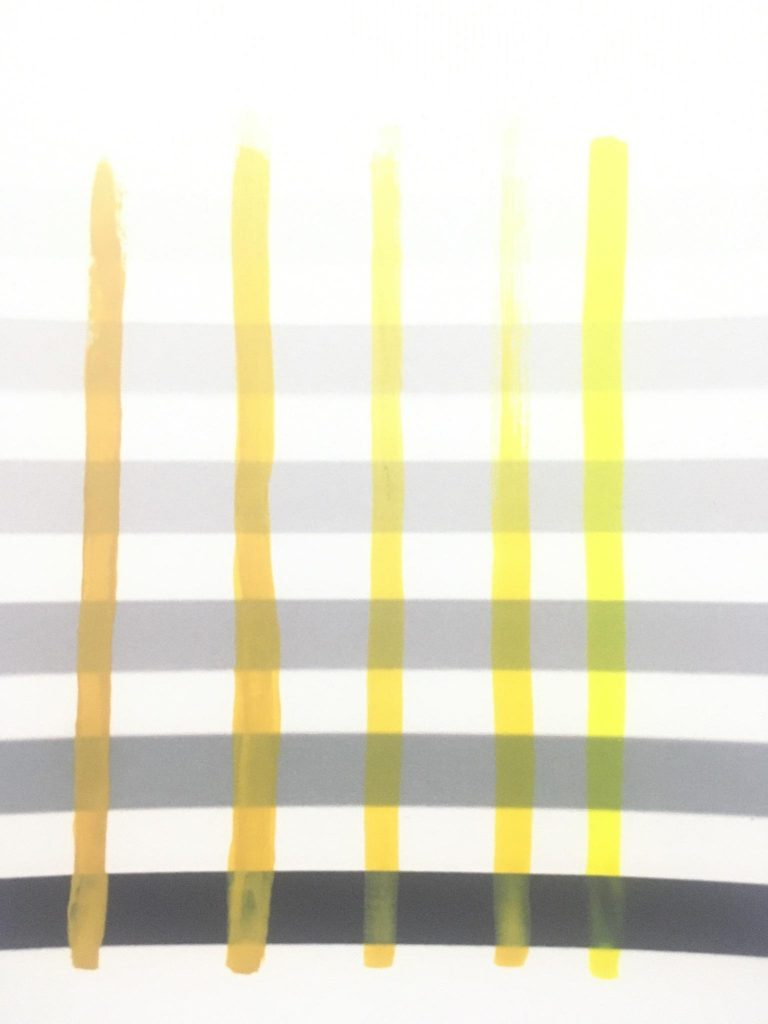 From Left to Right - Pure Oxide Yellow (100%), Pure Oxide Yellow (66%) : Pure Mid Yellow (33%), Pure Oxide Yellow (50%) : Pure Mid Yellow (50%), Pure Oxide Yellow (33%) : Pure Mid Yellow (66%), Pure Mid Yellow (100%)