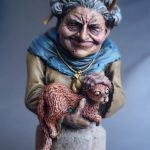 Margery the Crone by Anjuli/GeekGirlBook Worm painted using the Alpha range and Water+, Model from BadQuiddoGames, Sculpted by Przemysław Szymczyk